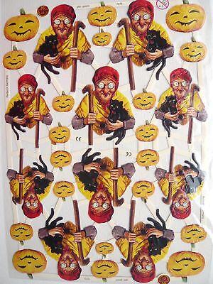 mit Glimmer Glanzbilder Oblaten ef 7273 Hexen Halloween Kürbis Obst
