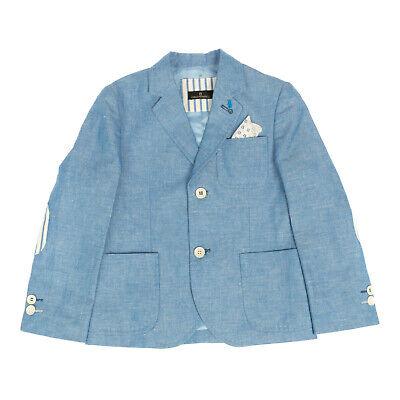 RRP €160 CARLO PIGNATELLI Blazer Jacket Size 5Y Linen Blend Elbow Patches