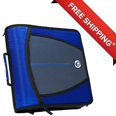 Case-it Mighty Zip Tab O-ring Binder Blue 3 Inches-free Shipping