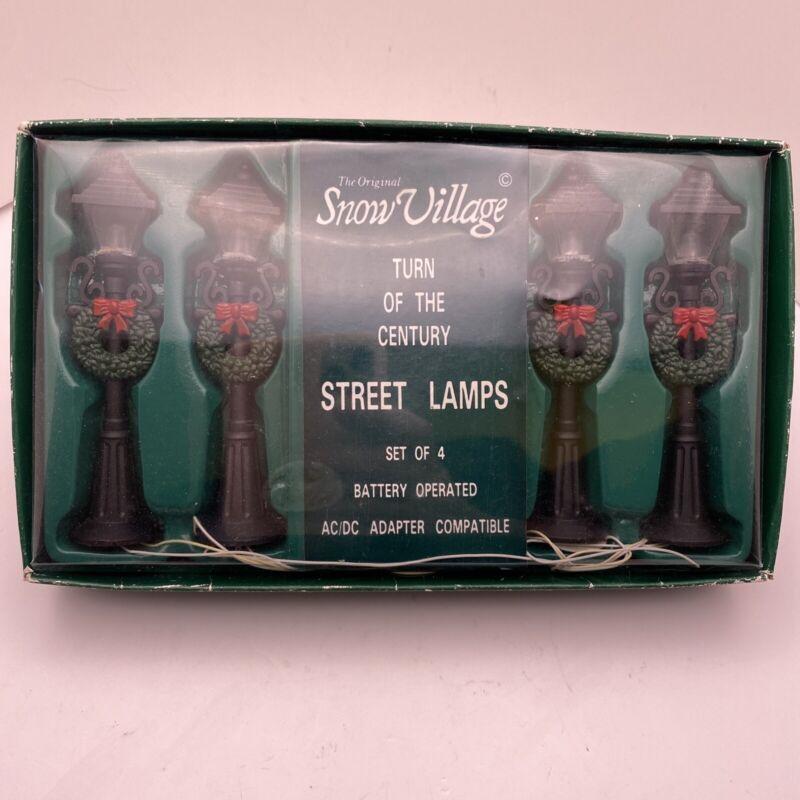 Dept 56 Snow Village Accessory Turn of Century Street Lamps (Set of 4) Light up
