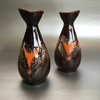 Two Vintage Canadian Pottery Vases Mid Century Lava Drip Glaze