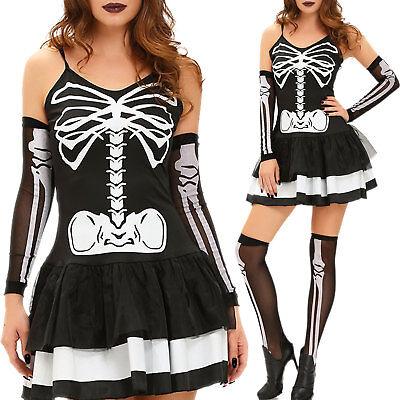 Kostüm Karnevalkleid Frau Skelett Schädel Kleid Verkleidung - Schädel Kostüm