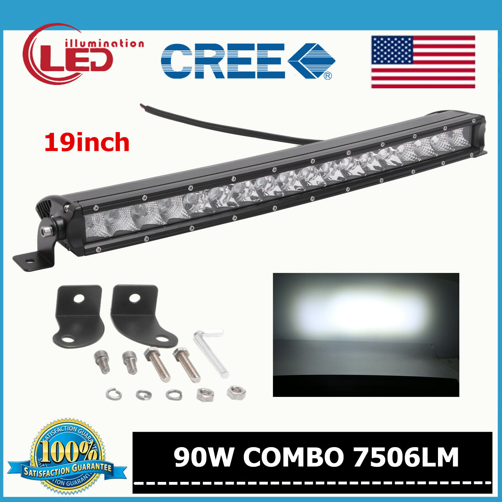 19inch Slim Single Row 90W Curved Cree LED Light Bar 3D Optical Offroad Auto SUV