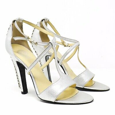 Versace Vintage Silver Heels Open Toe Straps Buckle Chain Sz 37.5 Made in Italy