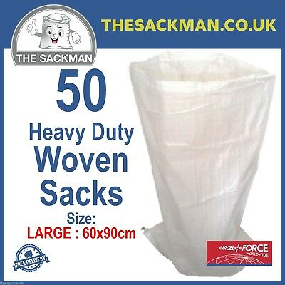 50 Plain White Storage Royal Mail Mailing Sacks Woven Large Log Bags Animal Feed
