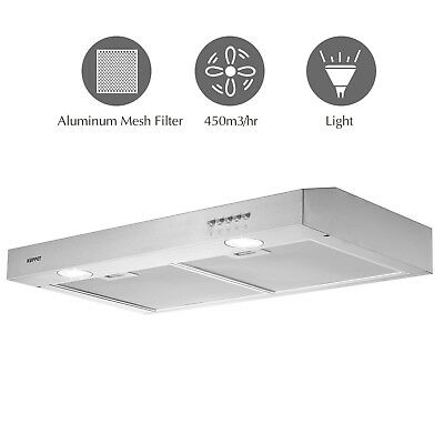 "30"" Stainless Steel Under Cabinet Range Hood Push Panel Kitchen w/ Carbon Filter"