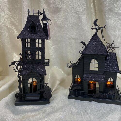 Moonlight Manor Halloween Metal Haunted Houses Village Tea Light Holder  Set 2