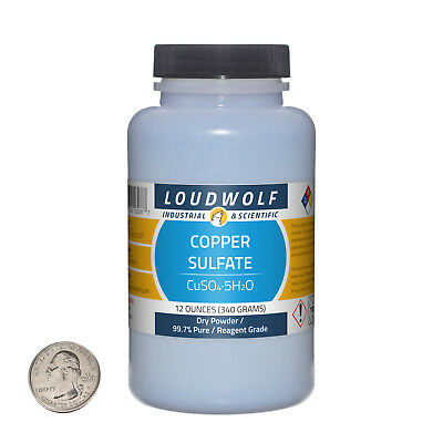Copper Sulfate 12 Ounce Bottle 99.7 Pure Reagent Grade Dry Powder Usa