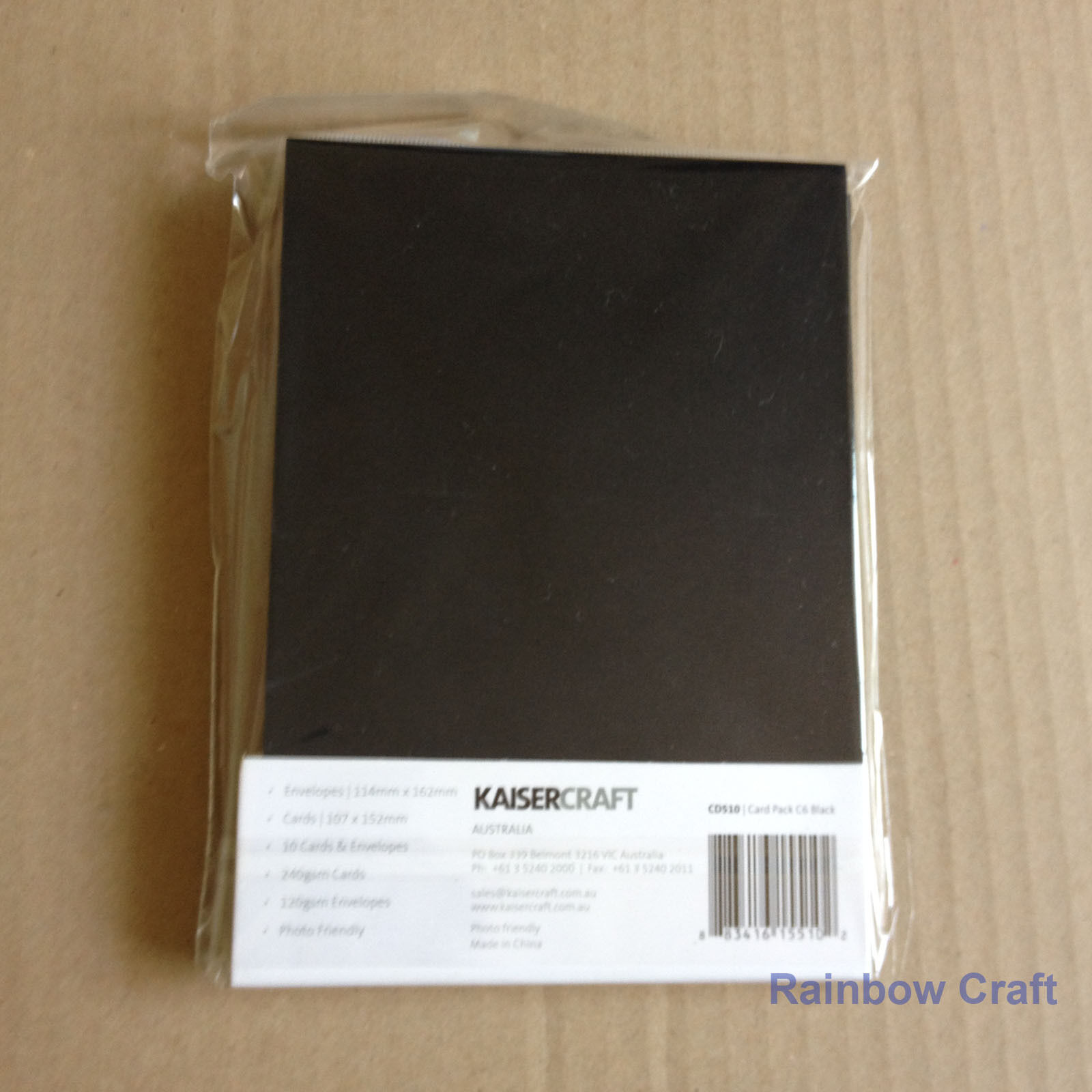 Kaisercraft 10 blank Cards & Envelopes Square / C6 size (12 selections) - Black - C6