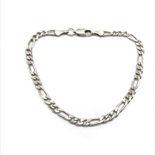 Vintage 925 Sterling Silver Figaro Chain Bracelet