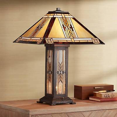 Tiffany Style Nightlight Table Lamp Mission Bronze Stained Glass for Living (Mission Stained Glass Table Lamp)