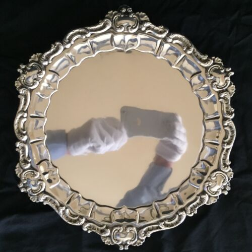 GORHAM ANTIQUE STERLING SILVER FOOTED LARGE TRAY SALVER - HALLMARKED 1896