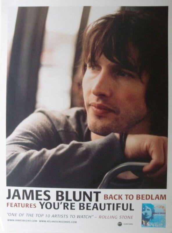 """JAMES BLUNT """"BACK TO BEDLAM"""" U.S. PROMO POSTER -Pop Rock/Soft Rock Music"""