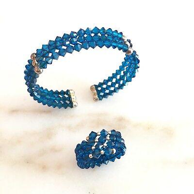 Capri Italy Crystal Jewelry Bracelet Set Italian Silver Navy Blue