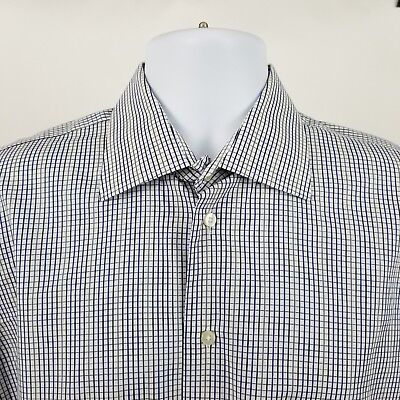 Mens L/s Mini (Samuelsohn Mens Blue Black Mini Check L/S Dress Button Shirt Sz 16)