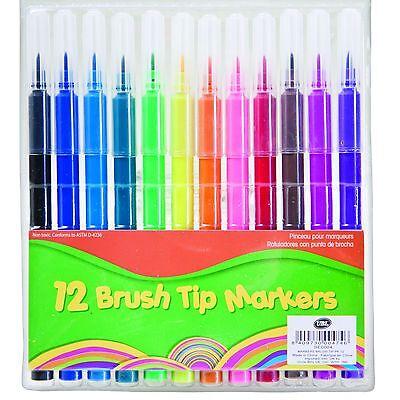 12 x Assorted Manuscript Pens Colours Brush Felt Tip Markers Arts Crafts Fibre