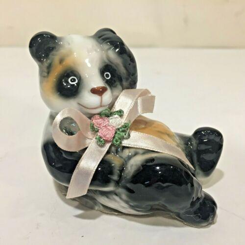 Vtg Reclining PANDA BEAR Bone China Porcelain Ceramic Figurine w Ribbon Bouquet