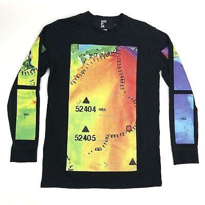 Hood By Air HBA Weather Heat Map Colorful Long Sleeve T Shirt Mens Black Sz L