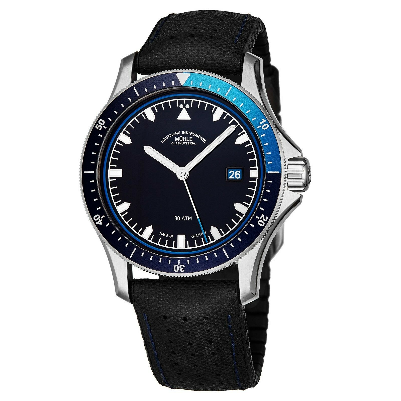 Muhle Glashutte ProMareGo Men's Blue Dial Leather Automatic Watch M1-42-32-NB - watch picture 1