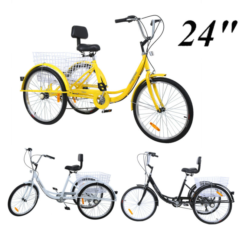 24'' 3 Wheel Adult Tricycle Basket Trike Cruise 300LBS Shima