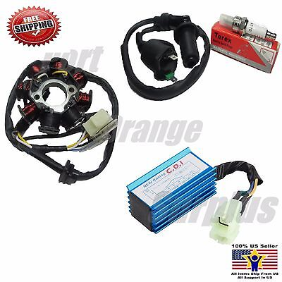 GY6 150CC Go Kart Moped ATV Plug Magneto CDI Box Ign Coil (8 Pole) Stator AC
