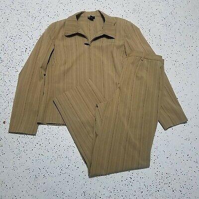 Rafaella 2 Piece Blazer & Pant Suit Set ~ Sz 12/14 ~ Light Brown ~ Stripes