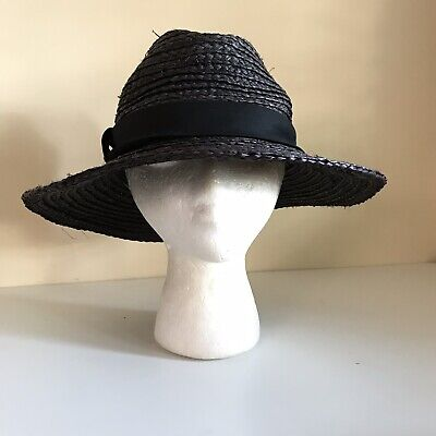 Zara Straw Floppy Sun Hat Blue Straw Woven Large Brim
