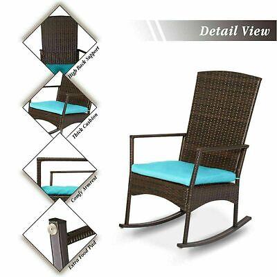 Garden Furniture - Rocking Chair Patio Rattan Rocker Armchair W/ Cushion Outdoor Garden Furniture