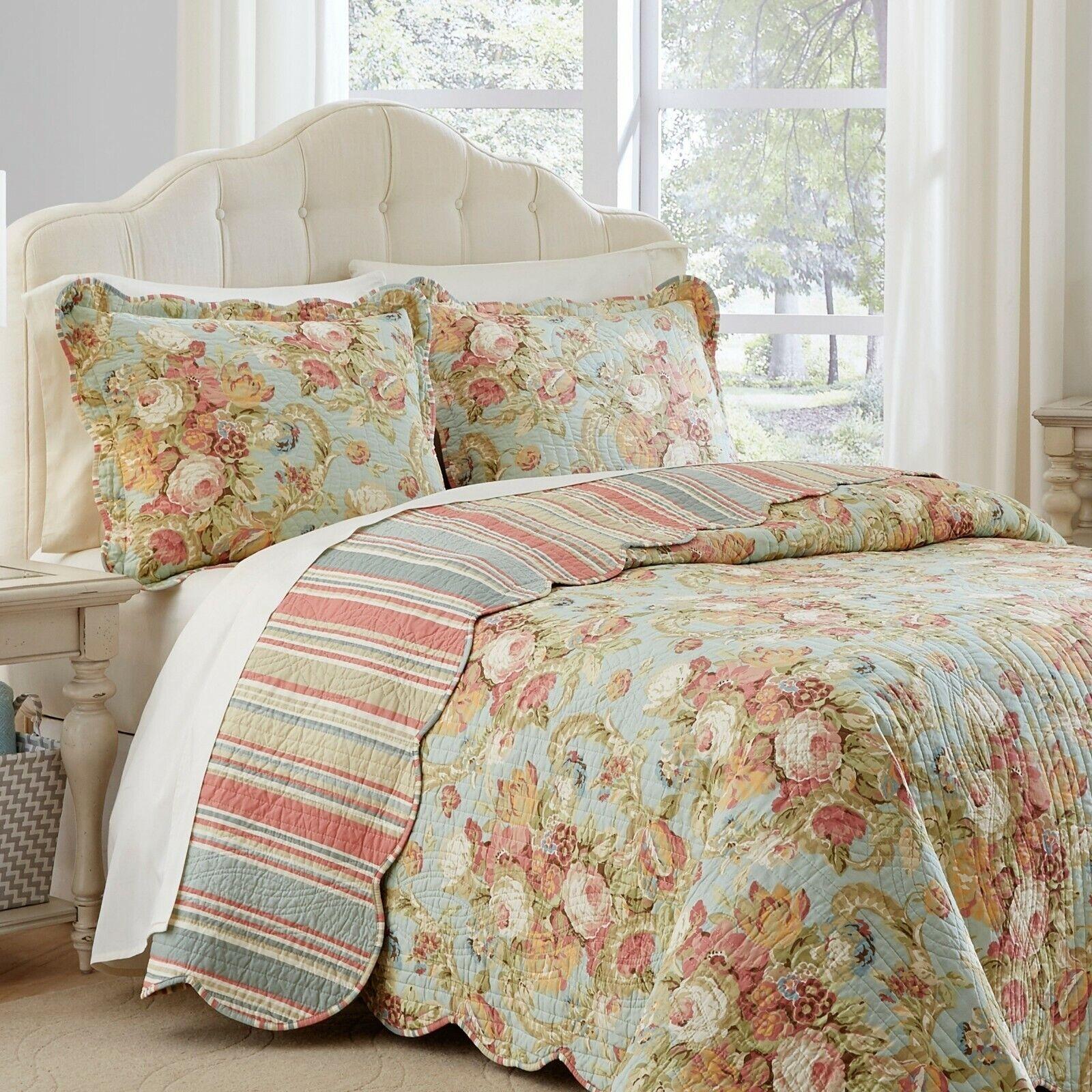 KING Size 100% Cotton Floral Reversible 3 Pc Cottage Quilt S