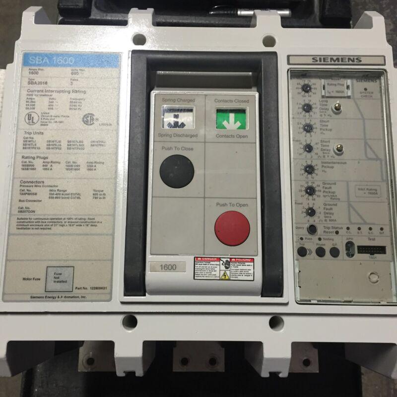 SIEMENS - SBA20160 - 1600 AMP CIRCUIT BREAKER