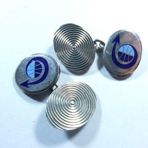 Stunning Vintage Solid Silver & Blue Enamel Arrow Chain Link Cufflinks Birm 1968