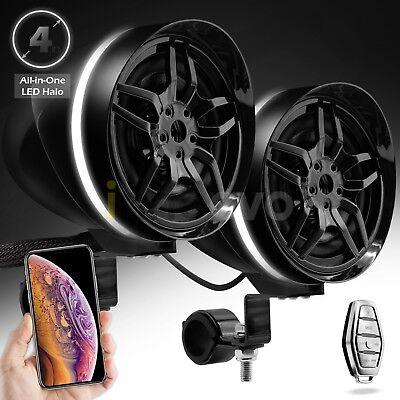 Waterproof Bluetooth ATV RZR Stereo LED Halo Speakers MP3 Audio System USB AUX Atv Audio System