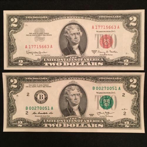 $2 Red Seal & $2 Federal Reserve Note