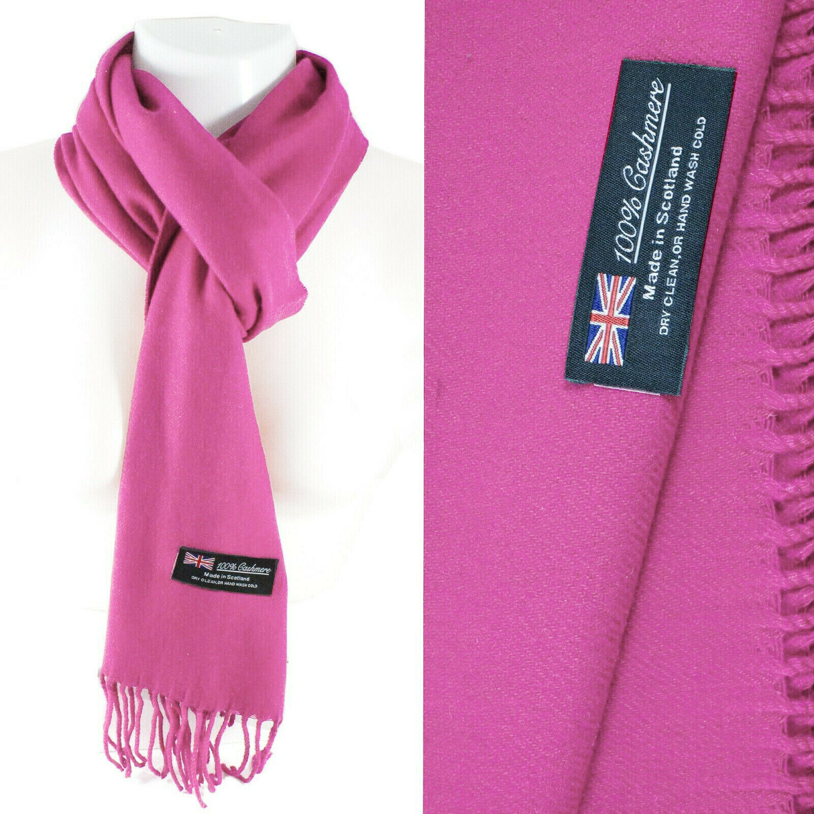 Mens Womens Winter Warm SCOTLAND Made 100% CASHMERE Scarf Scarves Plaid Wool 48. Plain: Pink