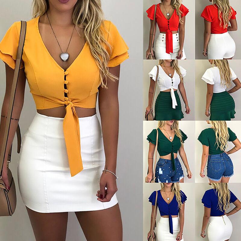 Damen Sexy V-Ausschnitt Crop Top Kurzarmshirt Oberteil Bluse Sommer Clubwear 40
