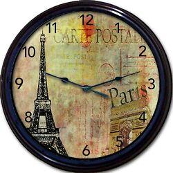Paris Eiffel Tower Wall Clock France Post Card postale carte French New 10