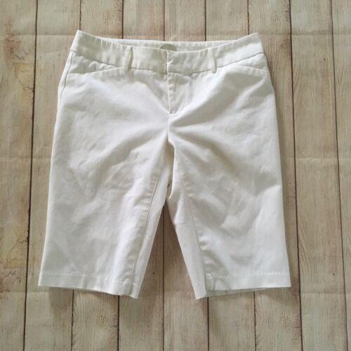 Ecru White Knee Length Tailored Shorts Size 4 Cott