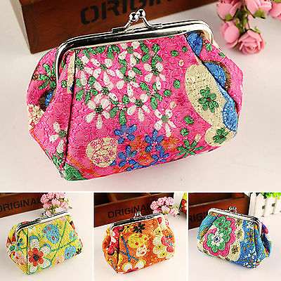 Vintage Floral Women Lady Small Wallet Card Key Holder Coin