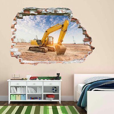 Excavator Construction Site Machine Wall Sticker Mural Decal Wallpaper BF1