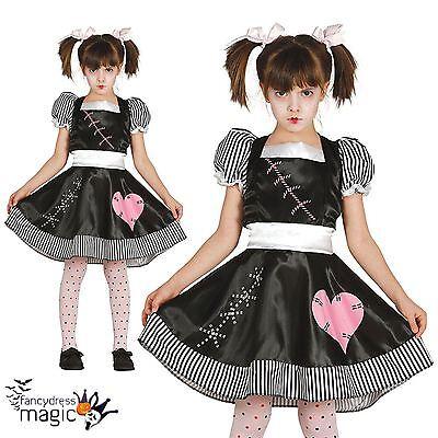 Killer Doll Kostüme (Girls Ragdoll Broken Killer Rag Doll Zombie Halloween Fancy Dress Costume Outfit)