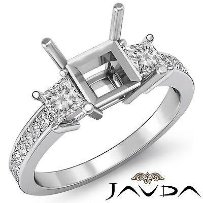 Diamond Engagement Promise Ring 3 Stone Princess Semi Mount 14k White Gold 0.8Ct