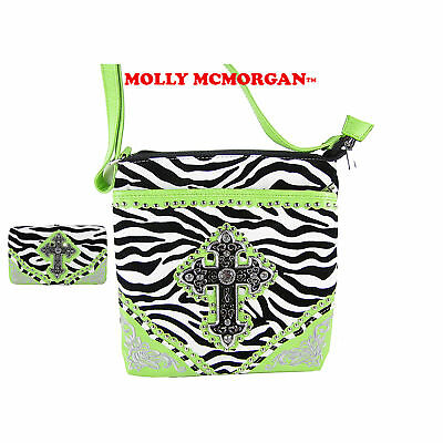 GREEN ZEBRA STUDDED RHINESTONE CROSS LOOK MESSENGER BAG WITH BIFOLD BLING WALLET