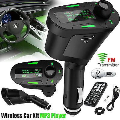 Car Mp3 Player Wireless FM Radio Transmitter USB SD Card Slot Remote Smartphones