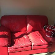 Red leather 2seater sofa Ferntree Gully Knox Area Preview