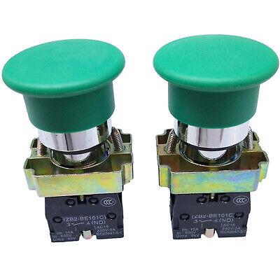 Us Stock 2pcs Xb2-bc31c No Momentary Mushroom Head Push Button Switch Green