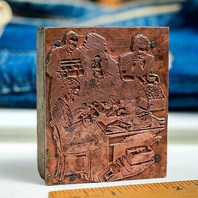 Office Scene Cards Copper Med 2x2.5 Vintage Letterpress Printers Block
