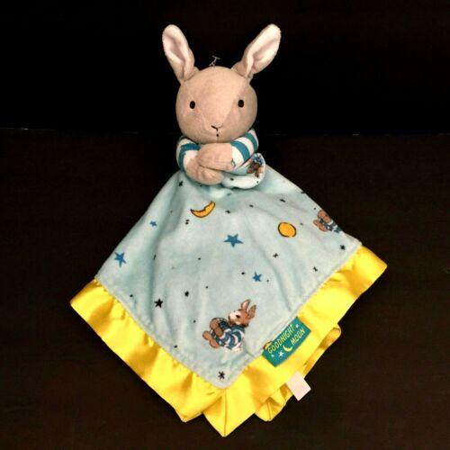 Goodnight Moon Bunny Rabbit Baby Security Lovey Blanket Blue Yellow Satin Trim