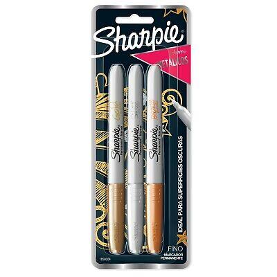 Sharpie Metallic Permanent Markers 3 Count Goldsilverbronze 3-count