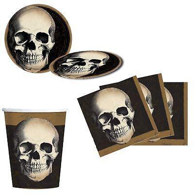 Halloween Party Geschirr Papier Becher Teller Servietten Packung Gotik Totenkopf