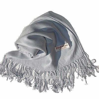 NEW Women Solid 100%Pashmina Wrap Stole Cashmere Shawl/Scarf Soft Silver